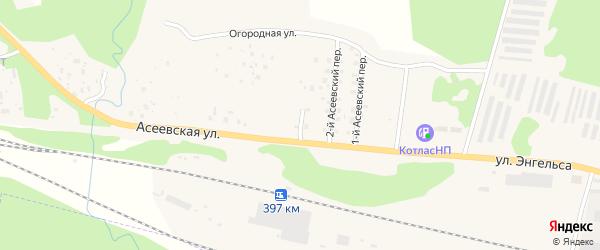 Асеевский 3-й переулок на карте Вычегодского поселка с номерами домов