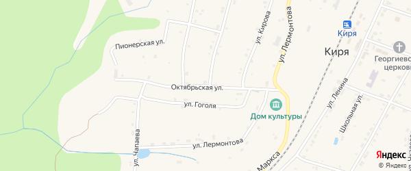 Октябрьская улица на карте поселка Киря с номерами домов