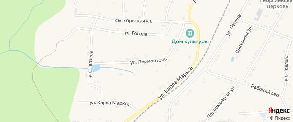 Улица Лермонтова на карте поселка Киря с номерами домов