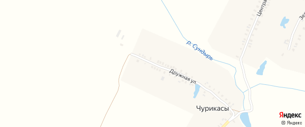 Передняя улица на карте деревни Чурикас с номерами домов