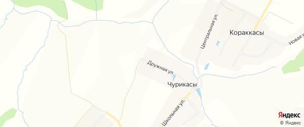 Карта деревни Чурикас в Чувашии с улицами и номерами домов