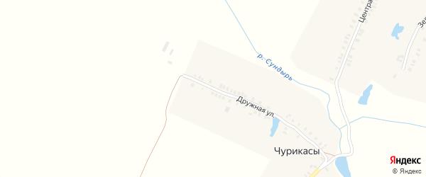 Дружная улица на карте деревни Чурикас с номерами домов