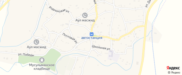 Рабочая улица на карте села Костека с номерами домов