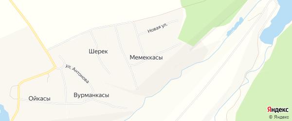 Карта деревни Мемеккас в Чувашии с улицами и номерами домов