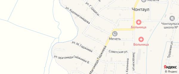 Улица М.Гаджиева на карте села Чонтаула с номерами домов