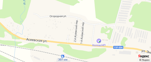 Асеевский 2-й переулок на карте Вычегодского поселка с номерами домов