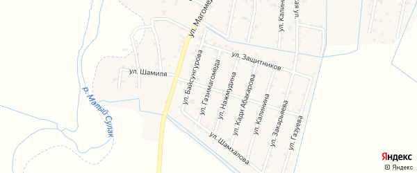 Улица Газимагомеда на карте села Чонтаула с номерами домов