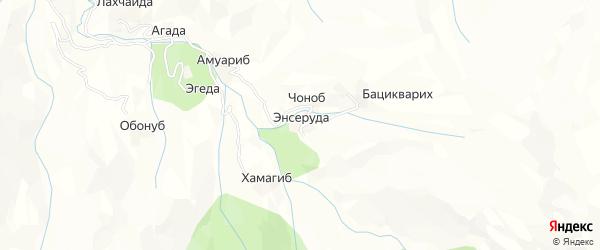 Карта хутора Энсеруды в Дагестане с улицами и номерами домов
