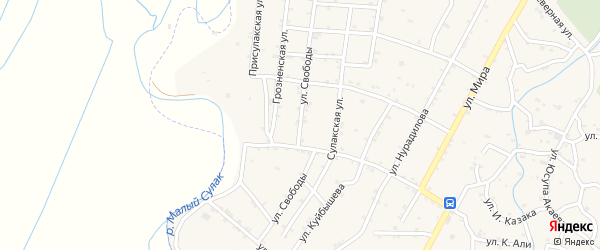 Улица Свободы на карте села Чонтаула с номерами домов