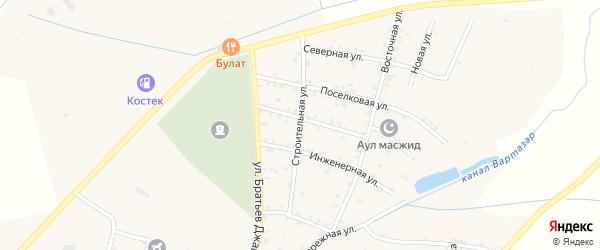 Строительная улица на карте села Костека с номерами домов