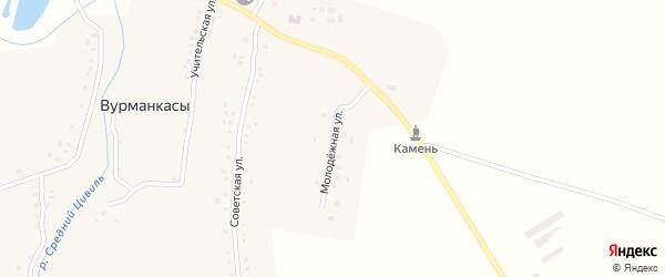 Молодежная улица на карте деревни Вурманкасы с номерами домов