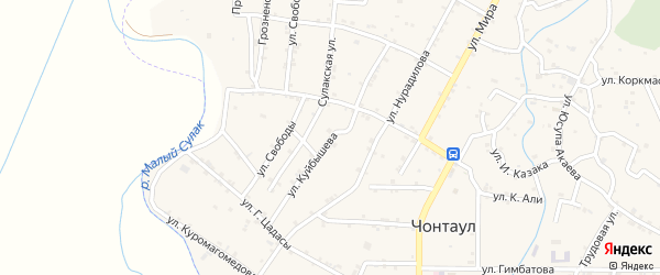 Улица Куйбышева на карте села Чонтаула с номерами домов