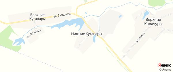 Карта деревни Нижние Куганары в Чувашии с улицами и номерами домов