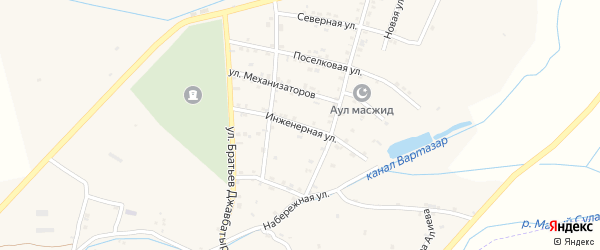 Инженерная улица на карте села Костека с номерами домов