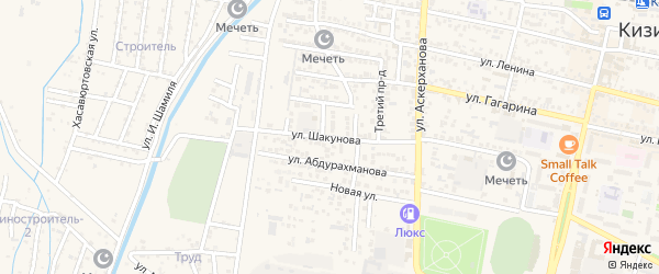 Улица Шакунова на карте Кизилюрта с номерами домов