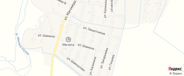 Улица Абакарова на карте села Чонтаула с номерами домов