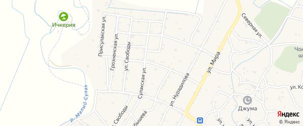 Комсомольская улица на карте села Чонтаула с номерами домов