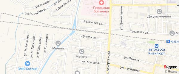 Дачная улица на карте Кизилюрта с номерами домов