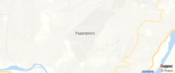 Карта села Уздалроса в Дагестане с улицами и номерами домов