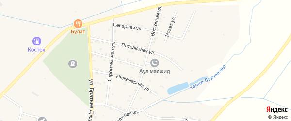 Восточная улица на карте села Костека с номерами домов