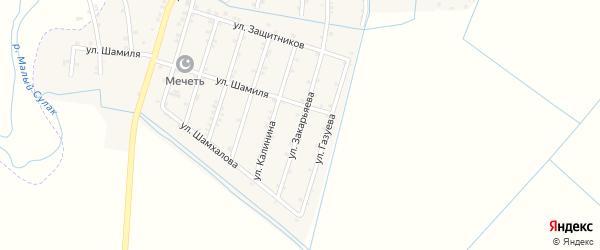 Улица Закарьяева на карте села Чонтаула с номерами домов