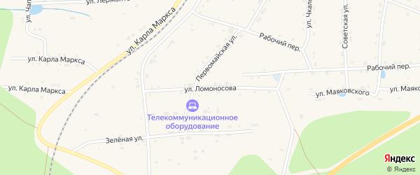 Улица Ломоносова на карте поселка Киря с номерами домов