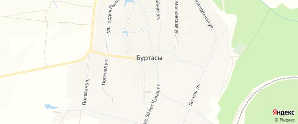 Карта деревни Буртасов в Чувашии с улицами и номерами домов