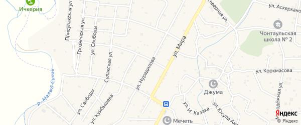 Улица Нурадилова на карте села Чонтаула с номерами домов
