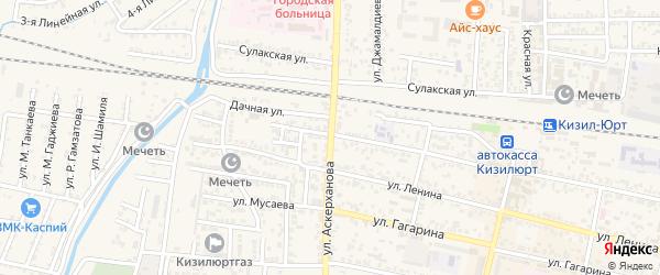 Улица Шоссейная-Аскерханова на карте Кизилюрта с номерами домов