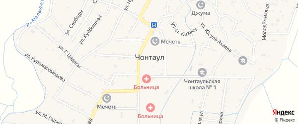 Улица Защитников на карте села Чонтаула с номерами домов