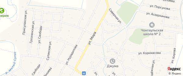 Улица Мира на карте села Чонтаула с номерами домов