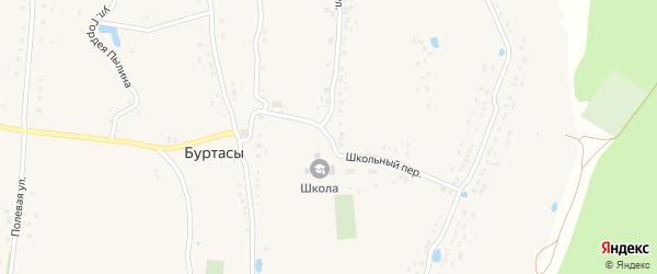 Школьный переулок на карте деревни Буртасов с номерами домов