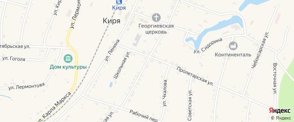 Первомайская улица на карте поселка Киря с номерами домов