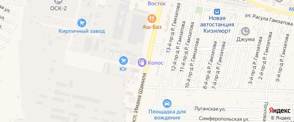 Проспект Им Шамиля на карте Кизилюрта с номерами домов