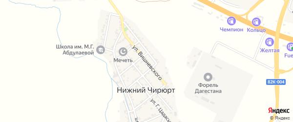 Улица Вишневского на карте села Нижнего Чирюрта с номерами домов