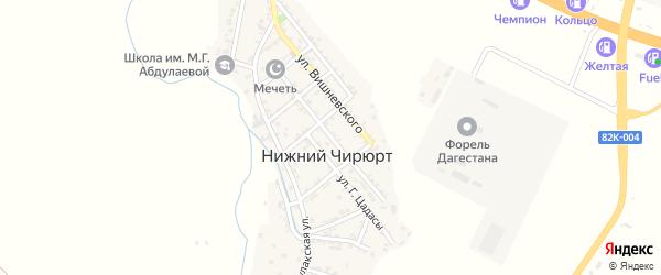 Центральная улица на карте села Нижнего Чирюрта с номерами домов