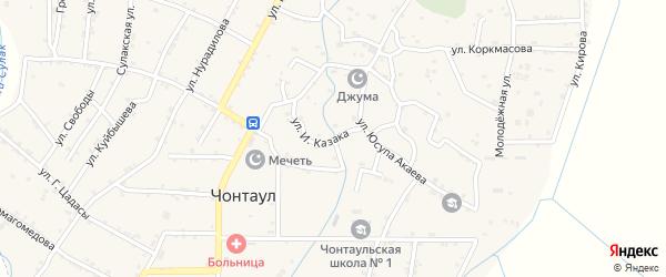 Улица И.Казака на карте села Султанянгиюрта с номерами домов