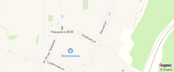 Клубная улица на карте деревни Буртасов с номерами домов