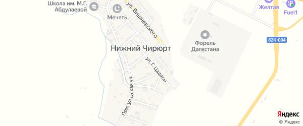 Улица Г.Цадасы на карте села Нижнего Чирюрта с номерами домов