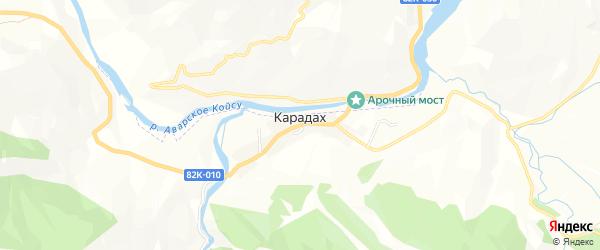 Карта села Карадаха в Дагестане с улицами и номерами домов