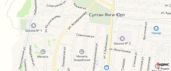 Совхозная улица на карте села Султанянгиюрта с номерами домов