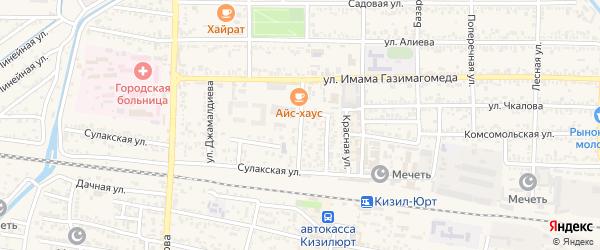 Спортивная улица на карте Кизилюрта с номерами домов