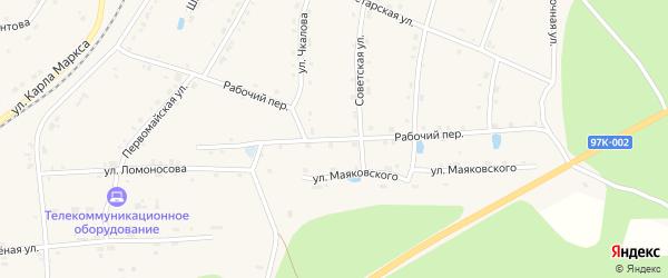 Рабочий переулок на карте поселка Киря с номерами домов