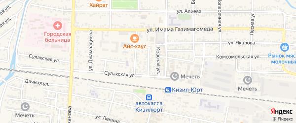 Пионерская улица на карте Кизилюрта с номерами домов