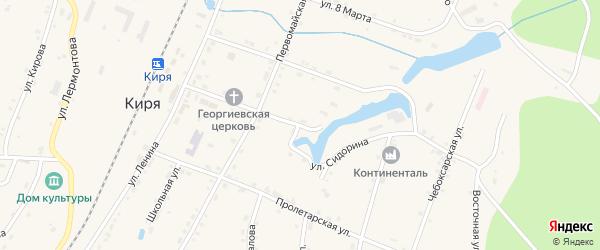 Улица Сидорина на карте поселка Киря с номерами домов