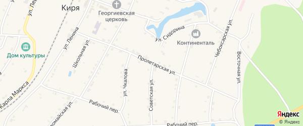 Пролетарская улица на карте поселка Киря с номерами домов