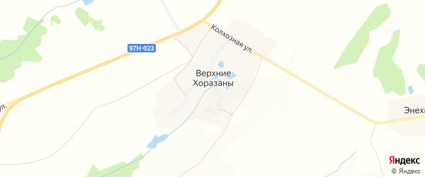 Карта деревни Верхние Хоразанов в Чувашии с улицами и номерами домов