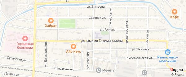 Улица Полежаева на карте Кизилюрта с номерами домов