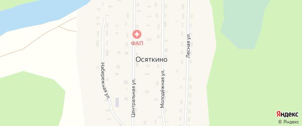 Центральная улица на карте поселка Осяткино с номерами домов