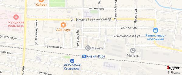 Кавказская улица на карте Кизилюрта с номерами домов